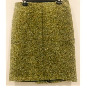 J. Crew Green Multicolored Twill Pencil Skirt